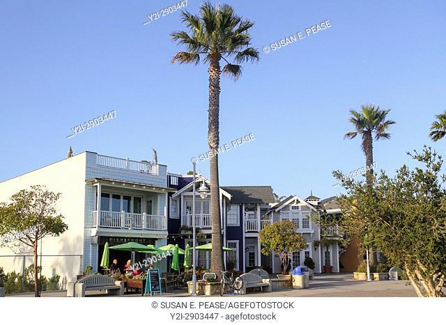 Shops and restaurants on Front Street, Avila Beach, San Luis Obispo County, California, United States, North America