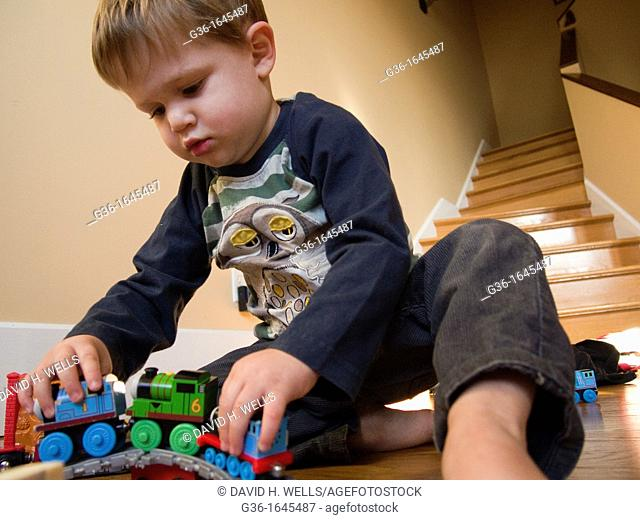 Young boy plays in Providence, Rhode Island, United States