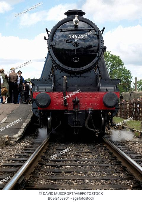 vintage steam locomotive at Quorn station, on the Great Central Railway in Leicestershire,UK
