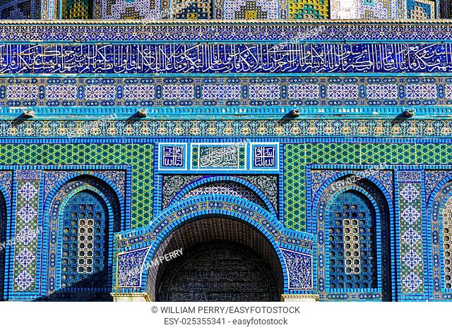 Dome of the Rock Islamic Decorations Mosque Temple Mount Jerusalem Israel. Built in 691 One of most sacred spots in Islam where Prophet Mohamed ascended to...
