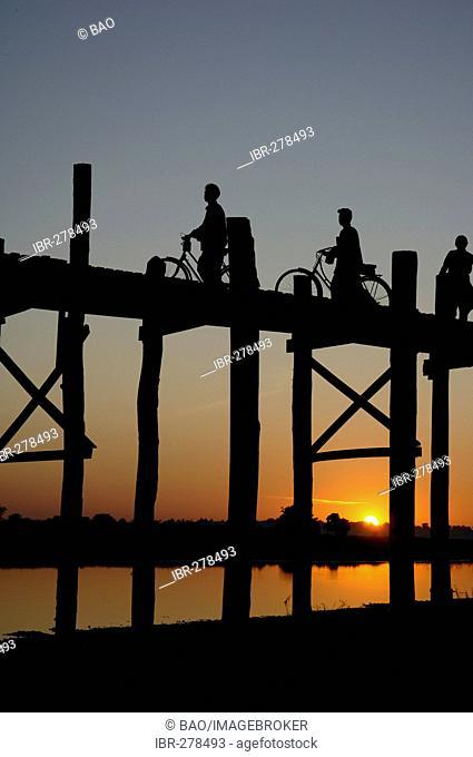 The U-Bein-bridge at the Taungthaman-lake, Mandalay, Myanmar, Burma
