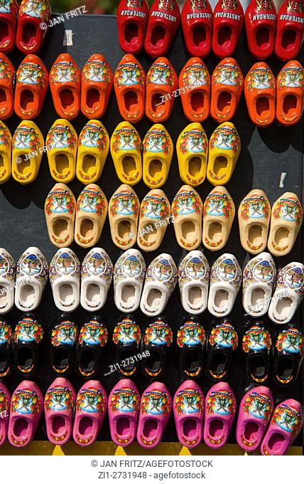Rows of miniature wooden shoes, magnets, as souvenirs in Amsterdam