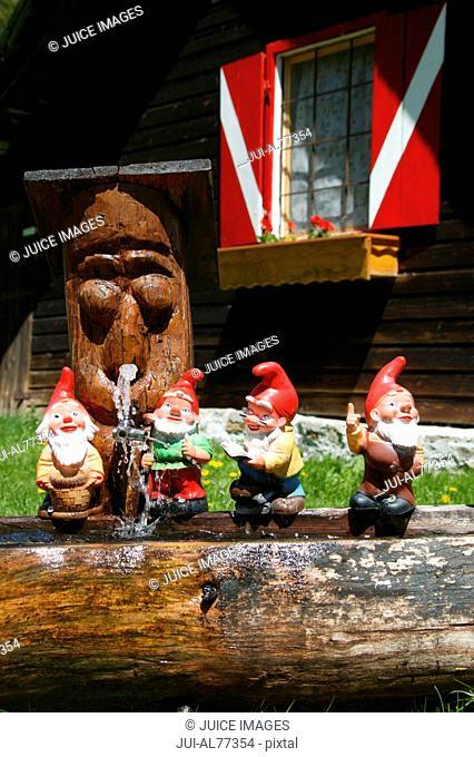 View of miniature garden gnomes lined up on a log, Maltatal, Kaernten, Austria