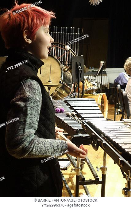 6th Grade Girl Playing Marimba in Middle School Band, Wellsville, New York, USA