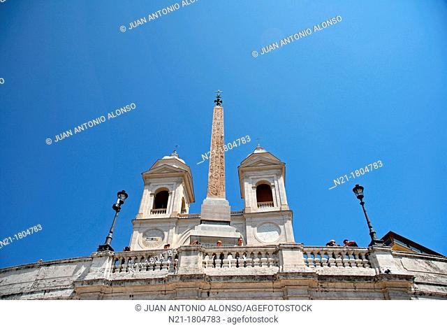 Chiesa of the Santissima Trinita Dei Monti on top of the MOnte Pincio, at the end of the Spanish steps from Piazza di Spagna  In the center