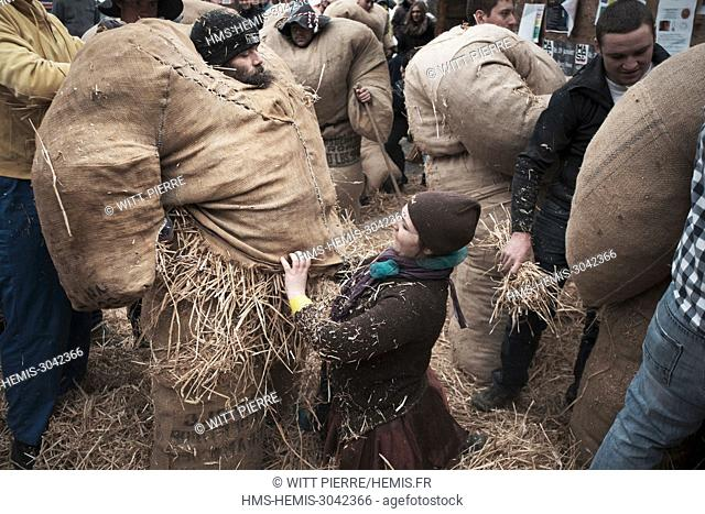Switzerland, Wallis, Herens valley, Evolene, the Carnival, The sunday, preparation of the Empailles