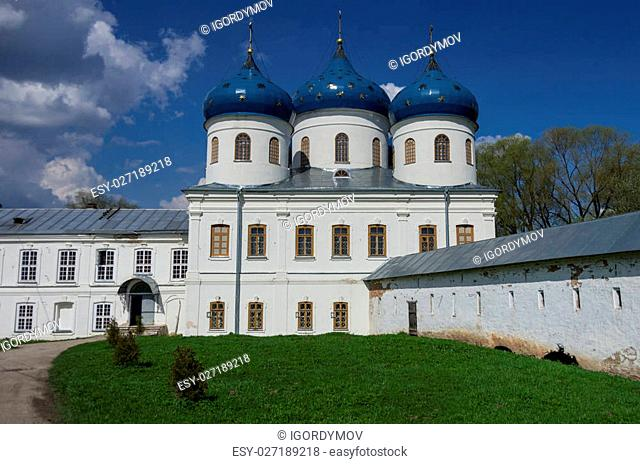 Church of Exaltation of the Cross in Russian orthodox Yuriev Monastery in Veliky Novgorod in spring sunny day
