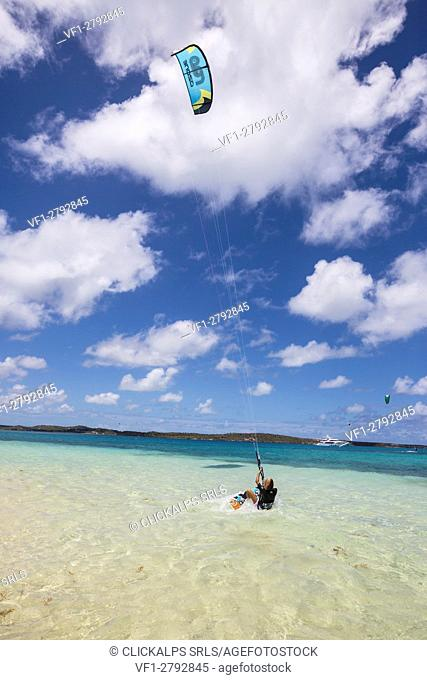Kitesurfing in the calm and turquoise waters of the Caribbean Sea Green Island Antigua and Barbuda Leeward Island West Indies