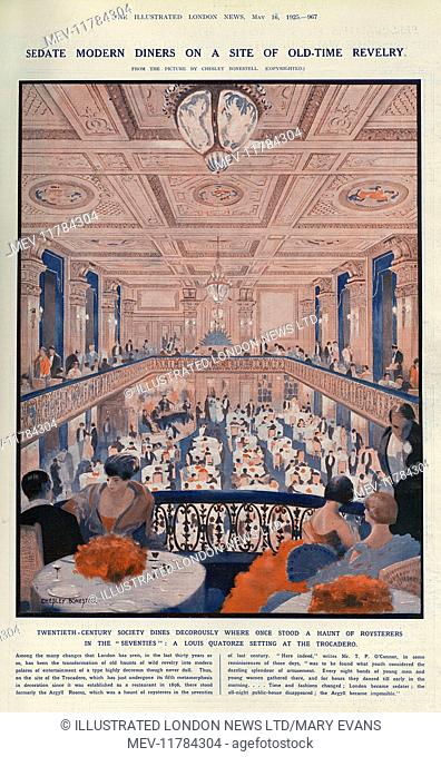 Sedate modern diners on a site of old-time revelry. The Louis Quatorze interior of the Trocadero nightspot in London's West End