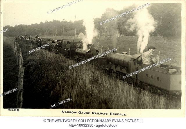 Narrow Gauge Railway, Eskdale , Holmbrook, near Sellafield/Grasmere, Cumbria, England. Double Header - Ravenglass & Eskdale Railway