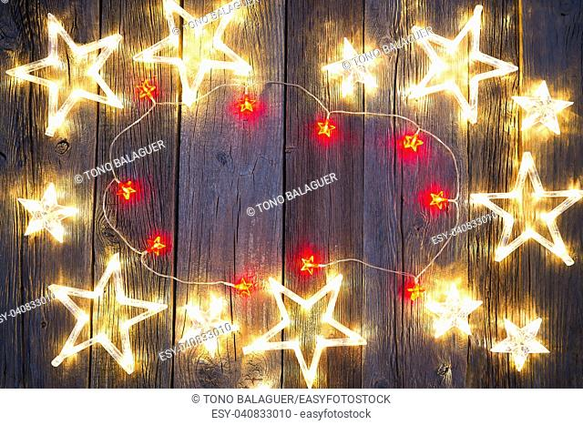Christmas background postcard vintage stars on wooden background