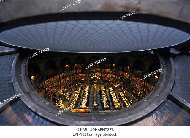 View through ventilation flap onto reading room of Bibliotheque Nationale de France, 2nd Arrondissement, Paris, France, Europe