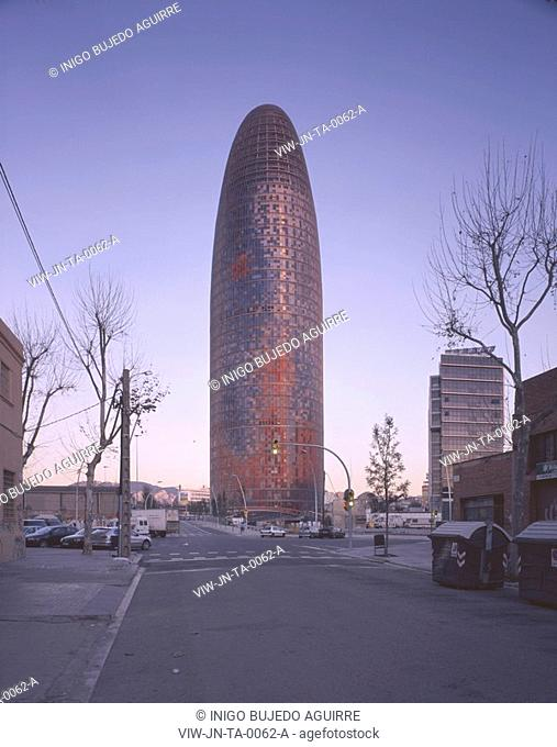 TORRE AGBAR, BARCELONA, SPAIN, JEAN NOUVEL, EXTERIOR, EARLY MORNING VIEW FROM THE POBLE NOU