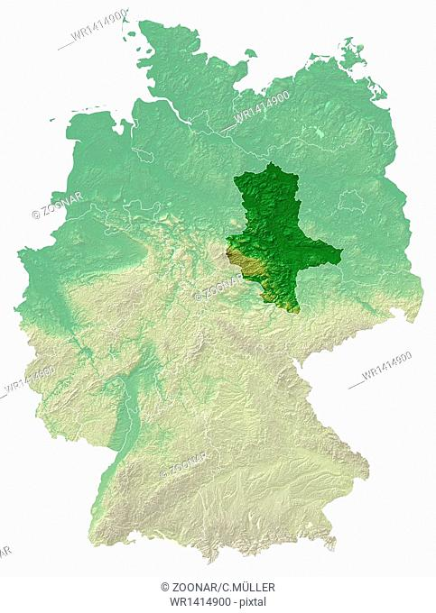 Saxony-Anhalt Relief Map