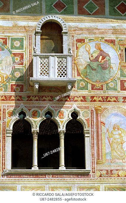 Italy, Friuli Venezia Giulia, Spilimbergo, the Castle, Fresco. . . .