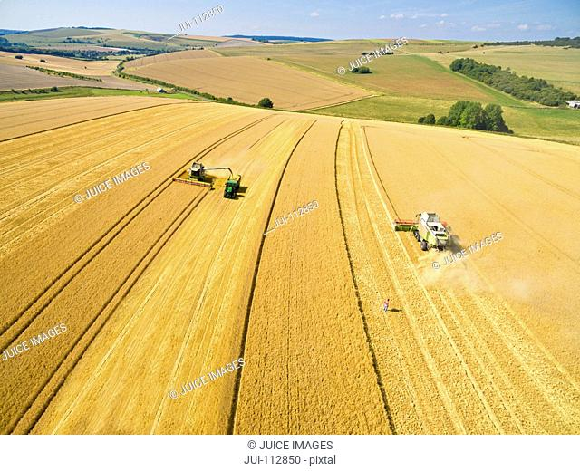 Scenic aerial landscape view of combine harvesters and tractor trailer in sunny golden barley field in rural countryside