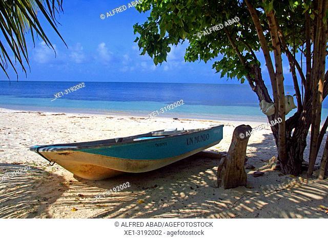boat on the beach, Barú Peninsula, Caribbean Sea, Colombia