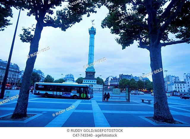 France. Paris. Place de la Bastille. The storming of the Bastille on July 14th 1789, signaled the beginning of the French Revolution