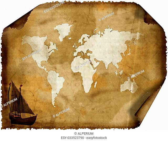old world map on grunge retro grunge paper