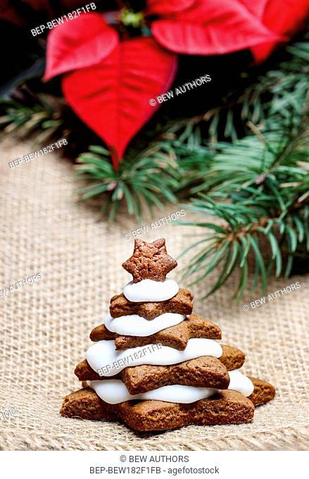 Gingerbread christmas tree. Delicious xmas dessert
