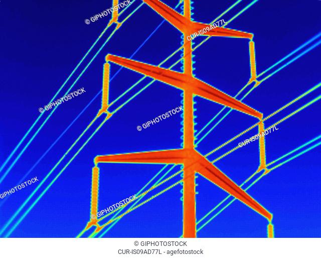 Close up thermogram of electricity transmission tower. Image acquired with a specialized camera that uses a focal-plane array of vanadium oxide microbolometers...