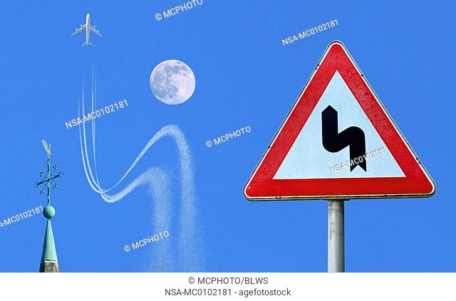 airplane obeying traffic sign, avoiding crash with a moon