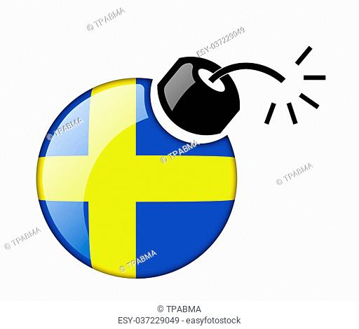 The Swedish flag in the form of glossy icon bomb. Isolated