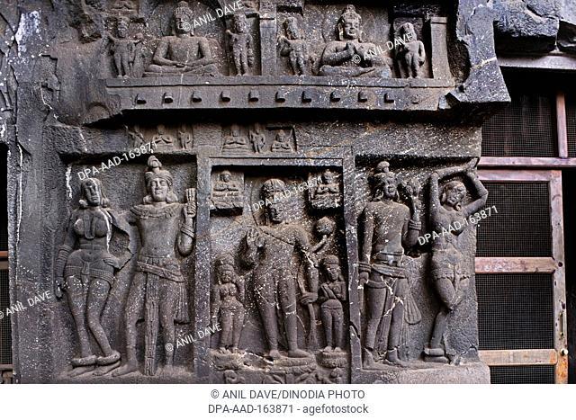 Statues in karli karla cave chaityan in second century BC ; Lonavala ; Maharashtra ; India