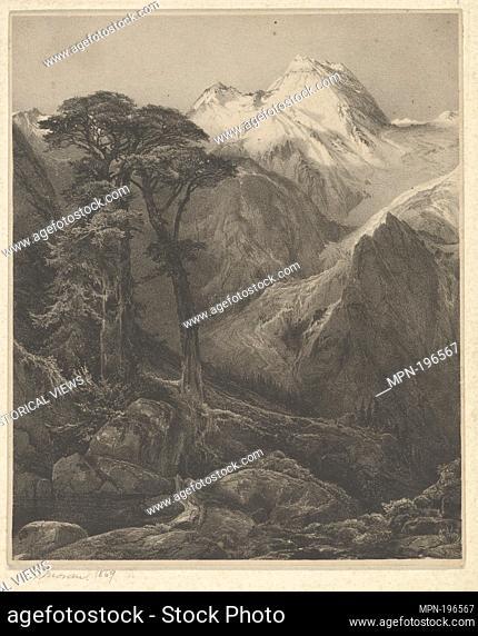 An Alpine glacier and mountains. Moran, Thomas, 1837-1926 (Artist). Thomas Moran: prints and drawings Lithographs. Date Created: 1869. Prints