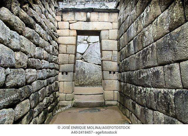 Archaeological site of Machu Picchu, Cusco, Peru. Sun temple and mausoleum