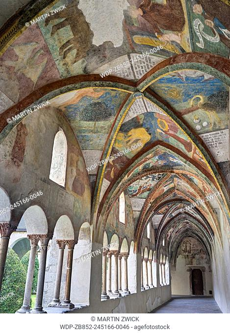 The gothic cloister at the Brixen Cathedral (also Bressanone or Persenon), a maisterpiece of gothic painting. Europe, Central Europe, Italy, South Tyrol