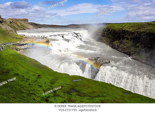 Gullfoss Falls, Golden Falls, drops 32 meters, 105 ft into a canyon, Iceland, South West Iceland, Golden Circle tour
