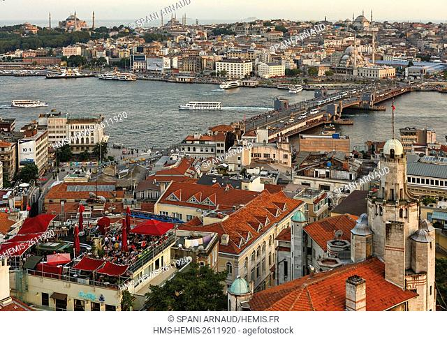 Turkey, Istanbul, Karakoy, Galata, terraces district views from the top of Galata tower