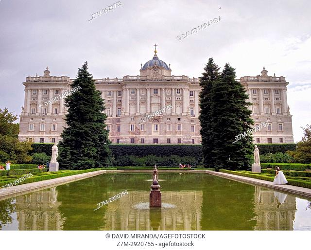 Palacio Real (Royal Palace) and Sabatini Gardens. Madrid. Spain
