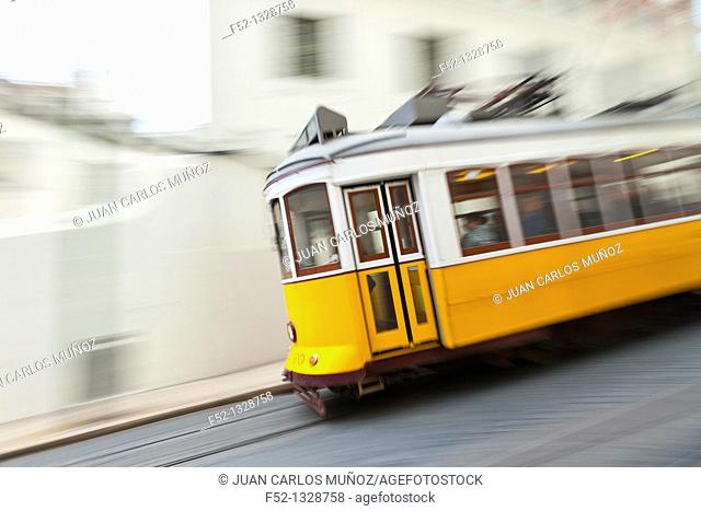 Tram in Rua de Sao Francisco, Chiado district, Lisbon, Portugal