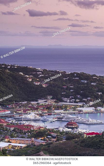 U. S. Virgin Islands, St. Thomas, Charlotte Amalie, elevated view towards Havensight cruise port, dusk