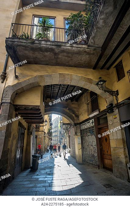 Spain , Barcelona City,Old town street, Canvis Vells street