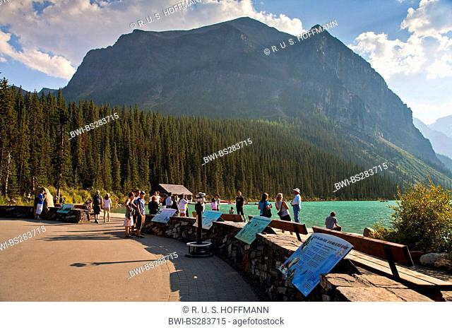 lookout point full of tourists at Lake Louise, Canada, Alberta, Banff National Park