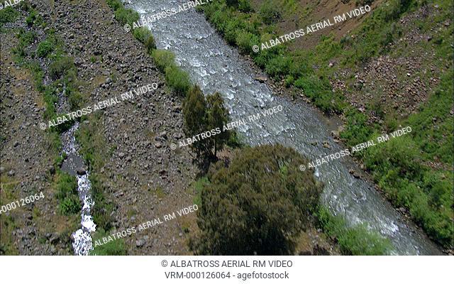 Aerial footage of the Jordan River in the Upper Galilee