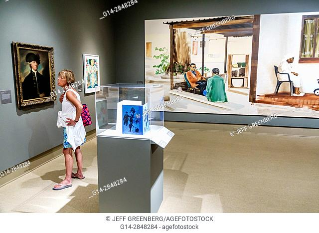 Florida, Winter Park, Orlando, Rollins College, Cornell Fine Arts Museum, art, interior, exhibition, painting, woman, looking