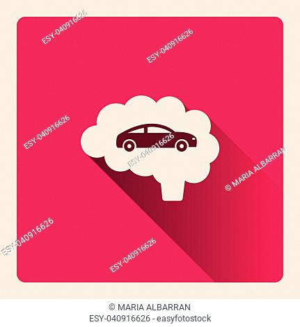 Brain thinking in car illustration on red square background with shade