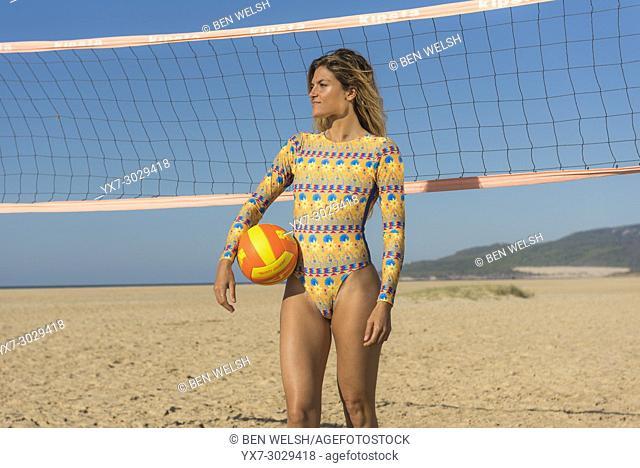 Woman in bikini. Tarifa, Cadiz, Costa de la Luz, Andalusia, Southern Spain
