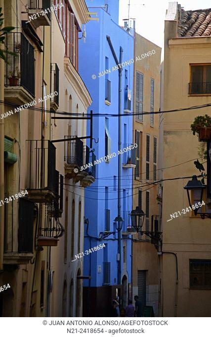 Blue building in the old quarter. Tarragona, Catalonia, Spain, Europe