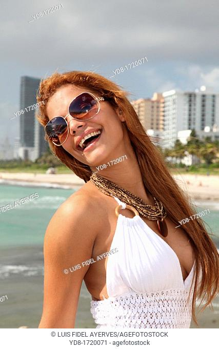 Smailing young woman in Miami Beach, Florida