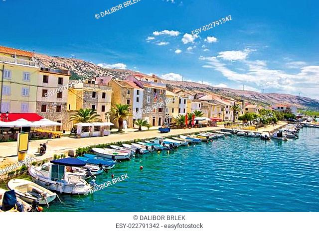 Town of Pag colorful waterfront