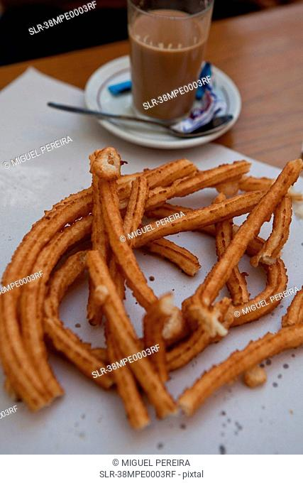 Close up of plate of churros