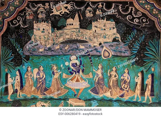 Colorful wall paintings in Chitrashala, Bundi Pala