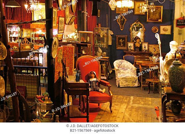Antiques shop in Passage Saint Michel, at Bordeaux, Gironde, Aquitaine, France