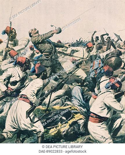 Ethiopian attack on the Lugh garrison and the killing of Captain Bongiovanni. Illustrator Achille Beltrame (1871-1945), from La Domenica del Corriere