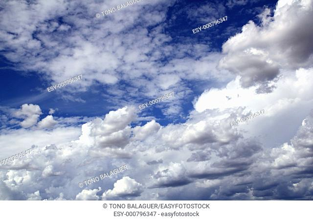 blue sky skyscape with clouds dramatic shapes background